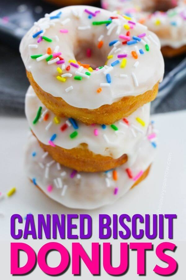 canned biscuit donuts stacked up