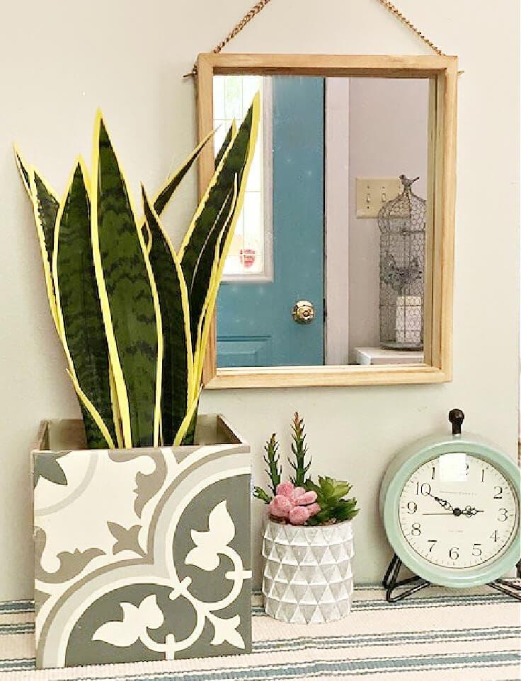 DIY planter box made from ceramic tiles