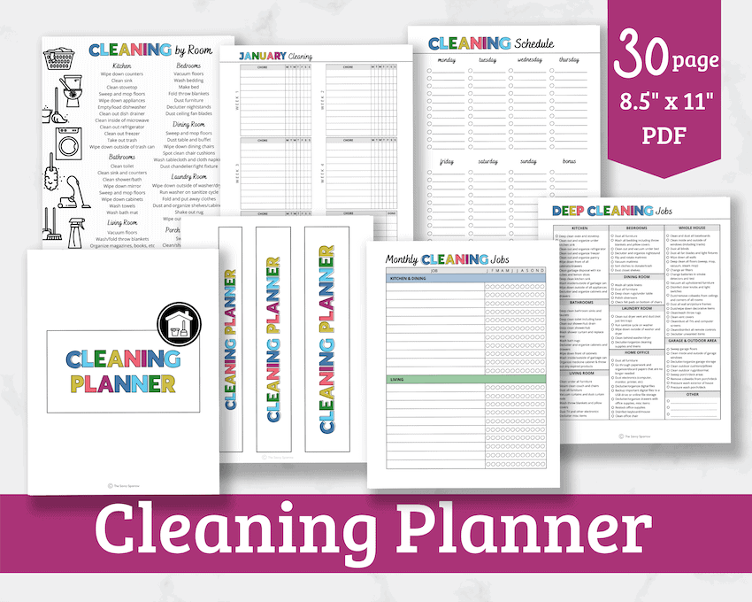 mockup of printable cleaning planner