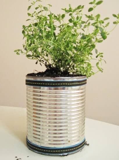 tin can turned into a planter pot