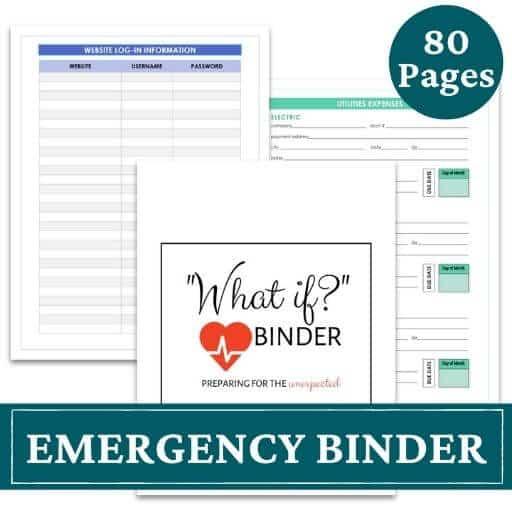 printable emergency binder