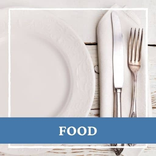 plate and cutlery with text food