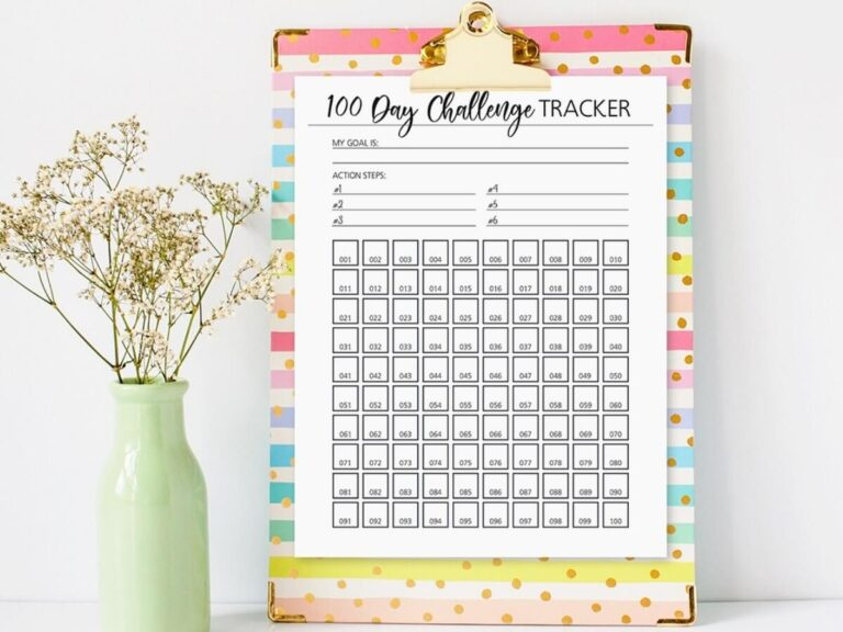 Free Printable 100 Day Challenge Tracker (Great for Big Goals!)