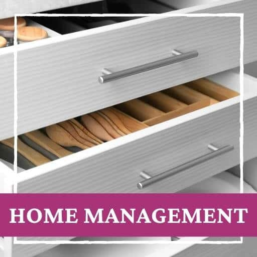 open kitchen drawers and text that says home management