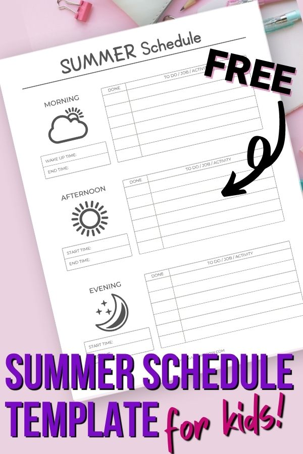 mockup of printable with text that says summer schedule template for kids