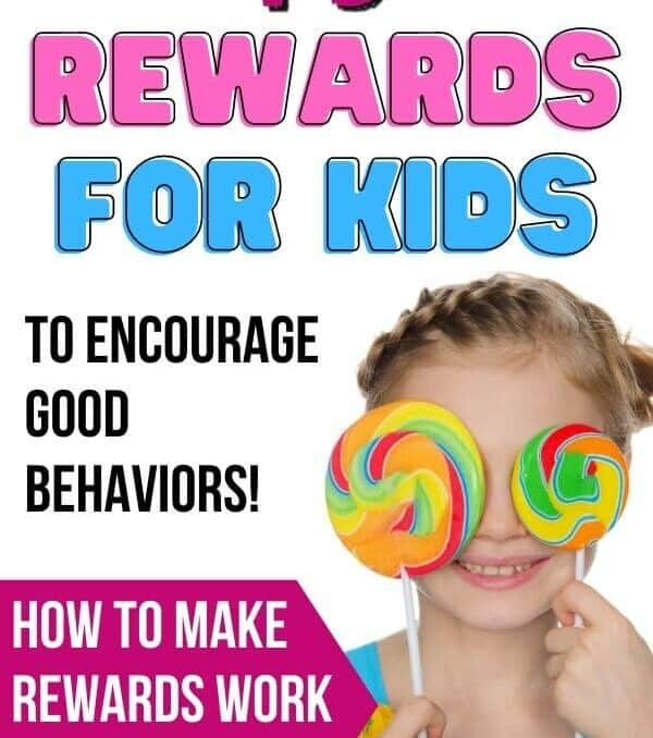 girl holding lollipops and text that says 75 rewards for kids