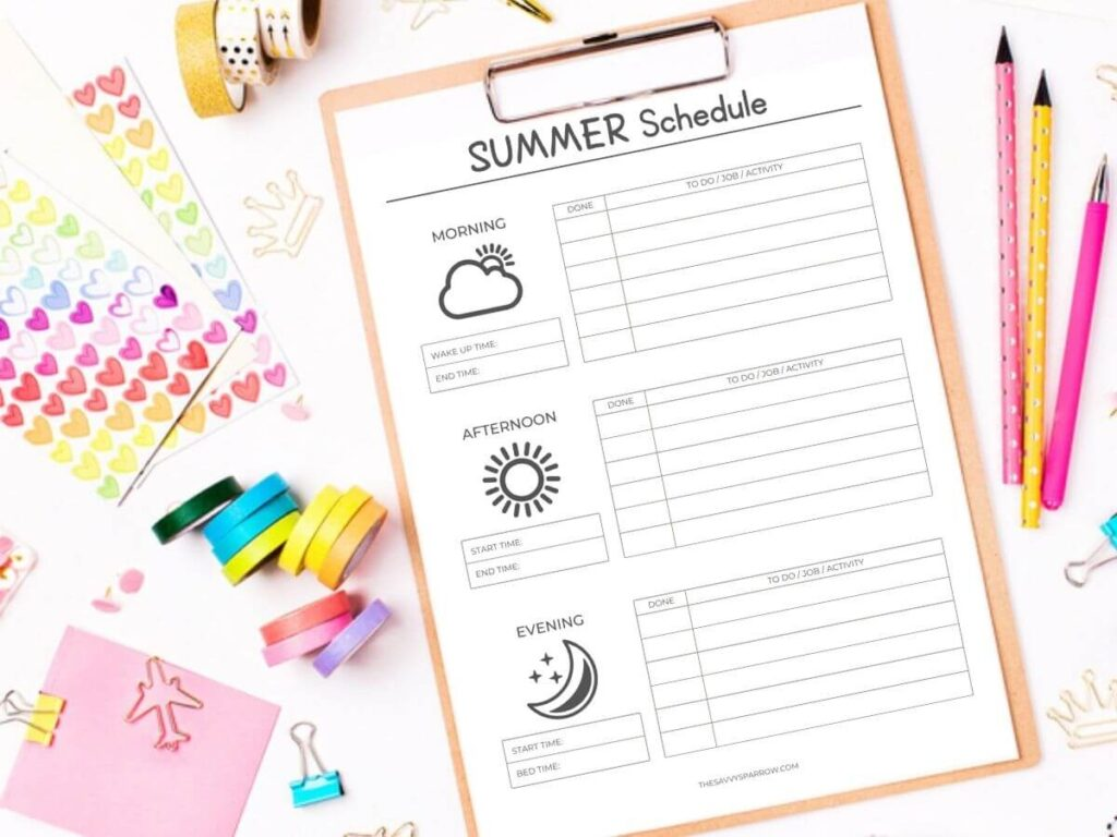 printable summer schedule template on a clipboard