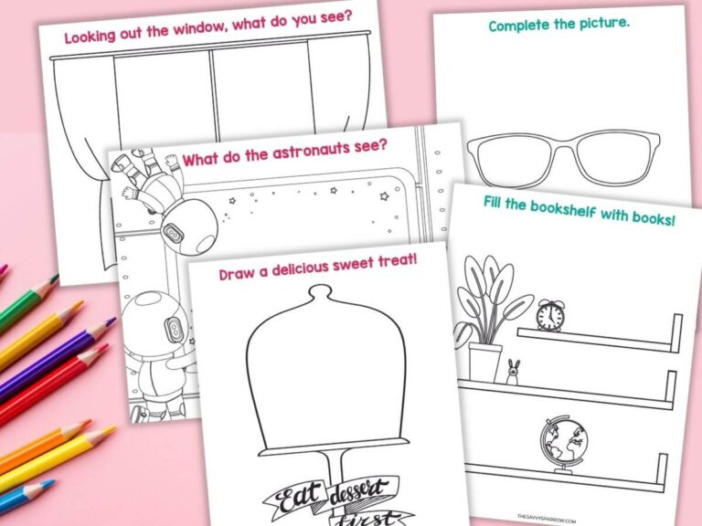 Finish the Picture Drawing Prompt Worksheets for Kids – Free Printable