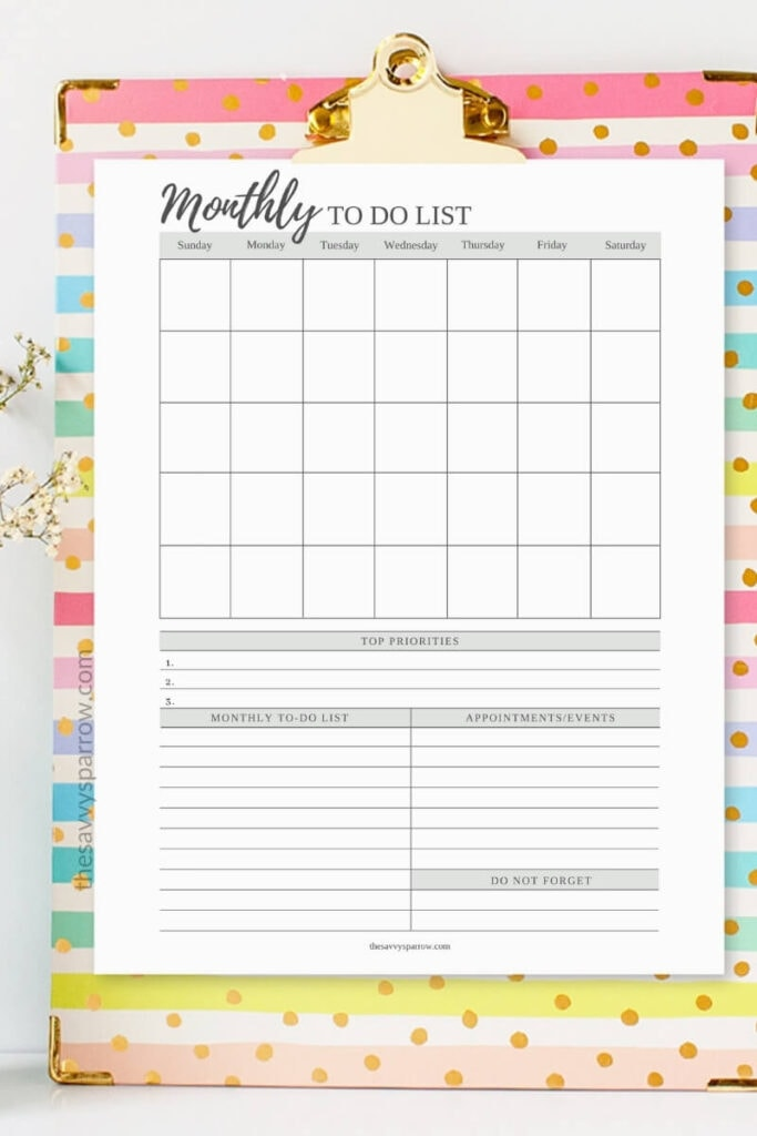 printable monthly to do list on a clipboard