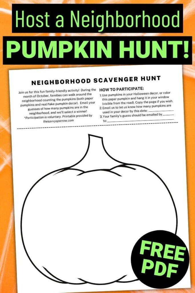 free printable neighborhood pumpkin hunt PDF