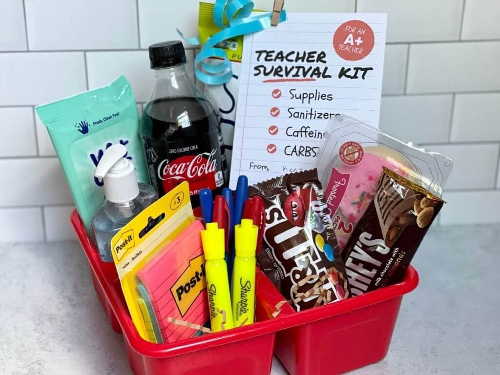 teacher survival kit with snacks and school supplies