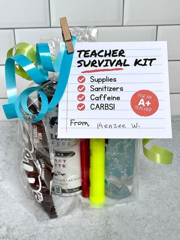 small teacher survival kit in a cellophane bag