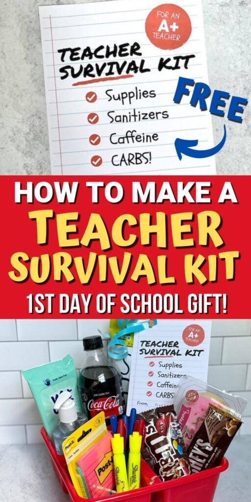 teacher survival kit gift with free printable gift tag