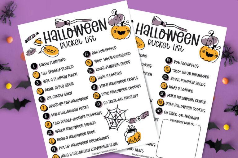 Halloween Bucket List for Kids – Free Printable List of Fun Family Activities!