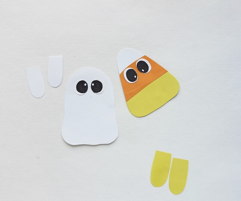 ghost and candy corn Halloween bookmarks in process