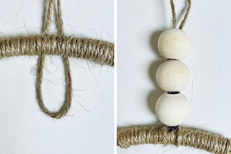 photo collage showing how to make the hanger for the boho yarn wall hanging