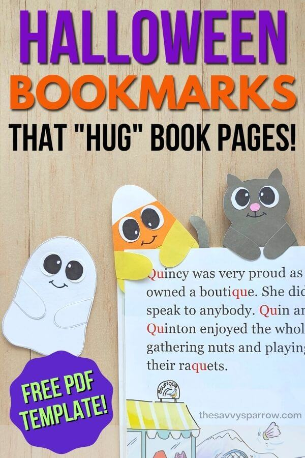 kids halloween bookmarks on a book page