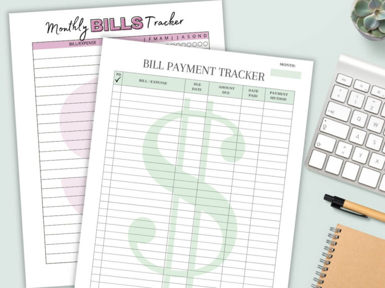 Free Bill Tracker Printable (Keep Track of Household Expenses)