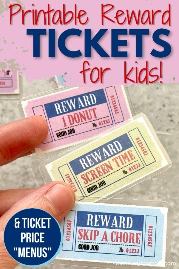 printable reward tickets for kids that say 1 donut, screen time, and skip a chore