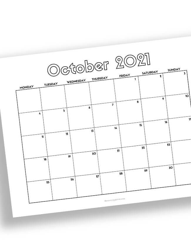 October calendar with horizontal layout
