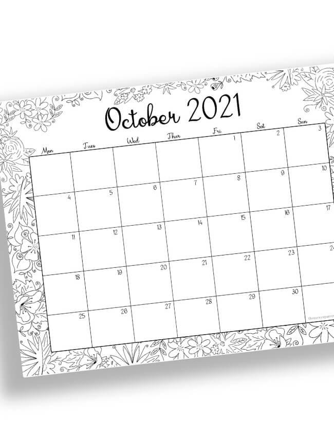 October calendar to color