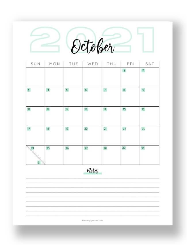 October calendar printable with teal designs