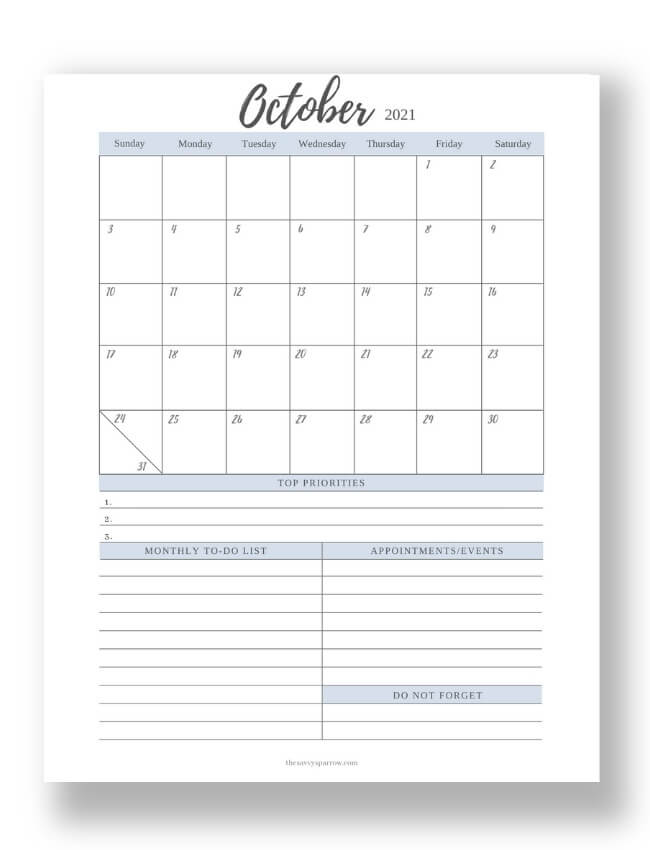 October 2021 calendar PDF with notes section
