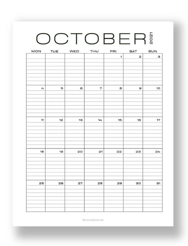 modern lined October calendar PDF