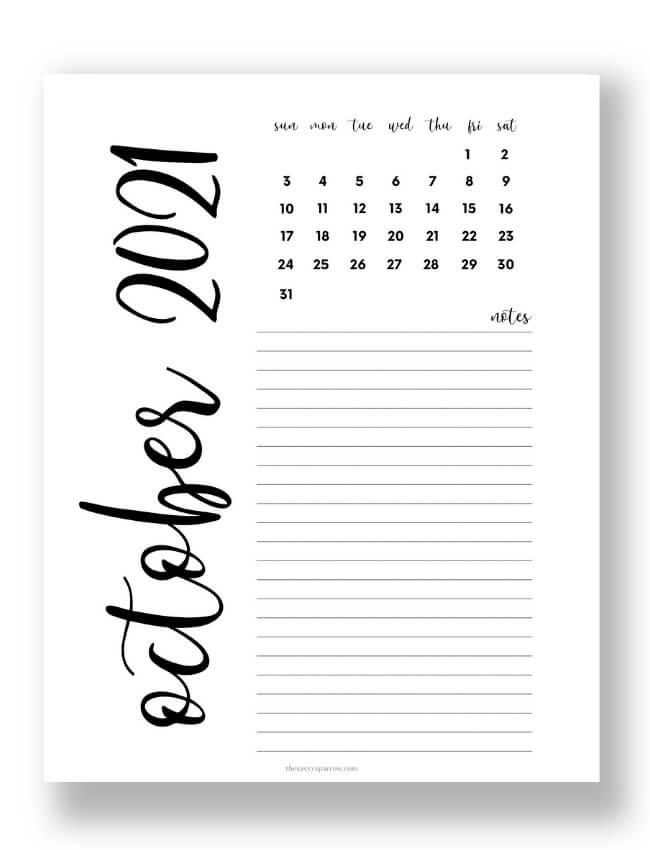 modern October calendar PDF