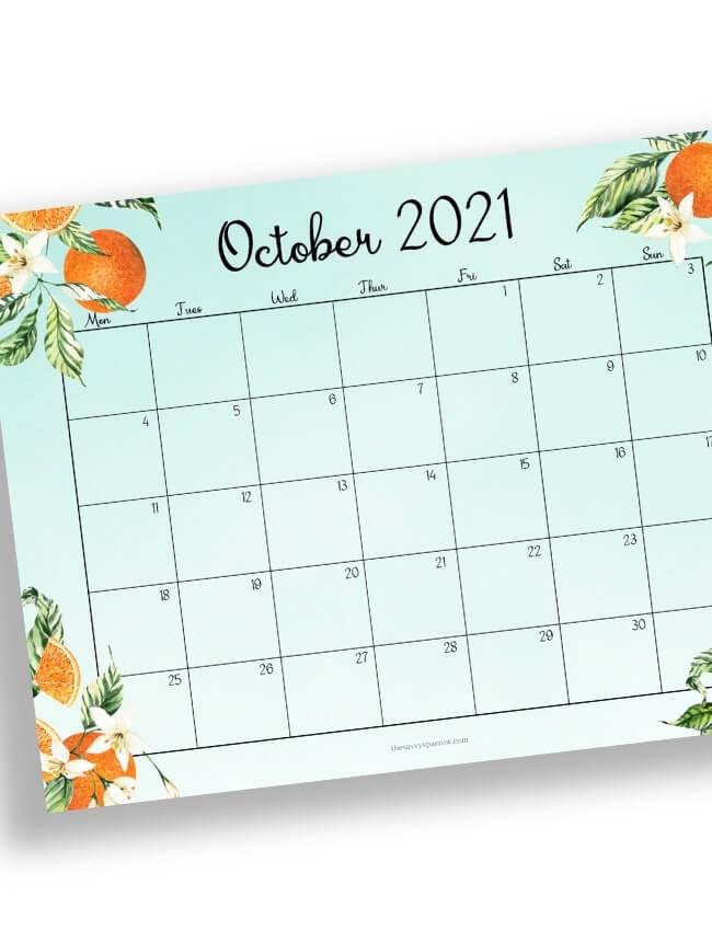 October calendar with orange blossoms