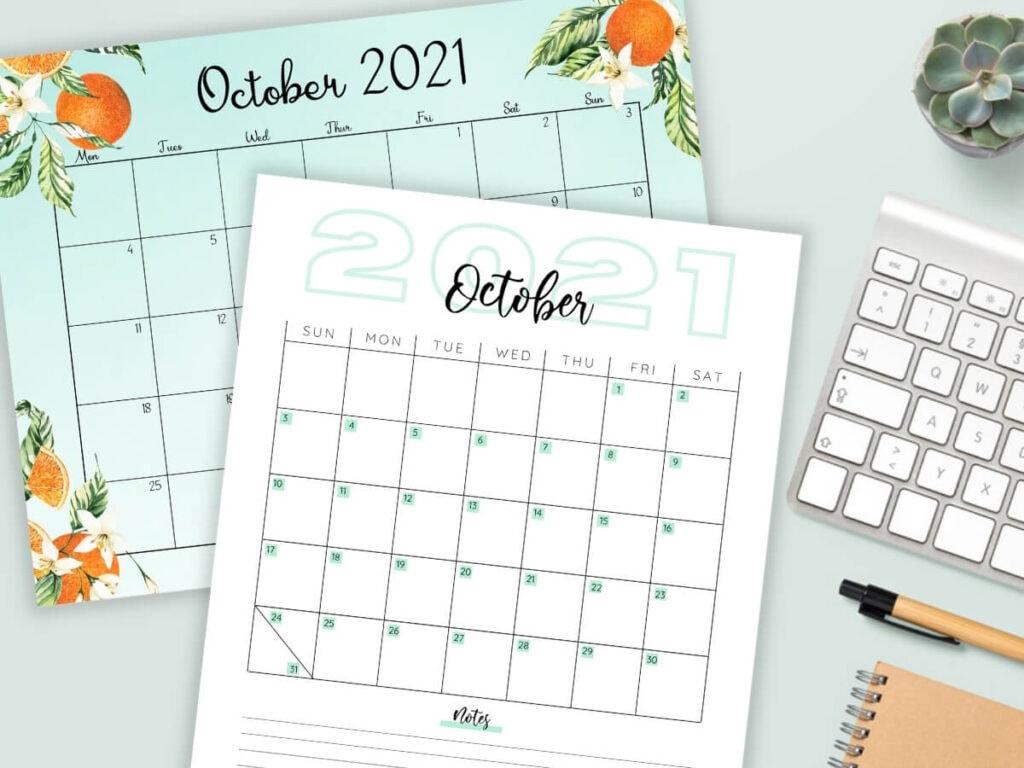 printable October calendar PDFs on a desktop