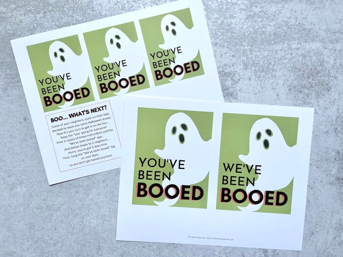 """gift tags that say """"you've been booed"""" with a ghost"""