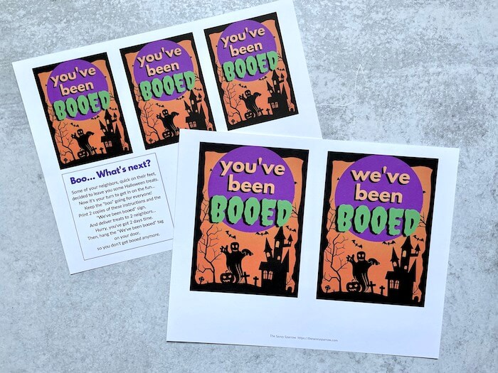 """printable Halloween gift tags that say """"You've been booed"""""""