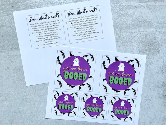 printable Halloween gift tags for booing neighbors