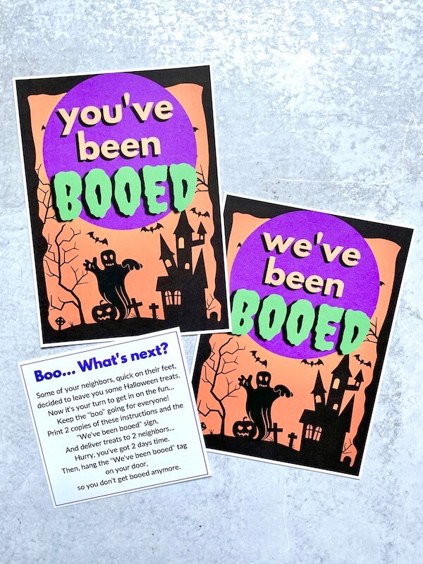 """""""you've been booed"""" and """"we've been booed"""" printable signs"""