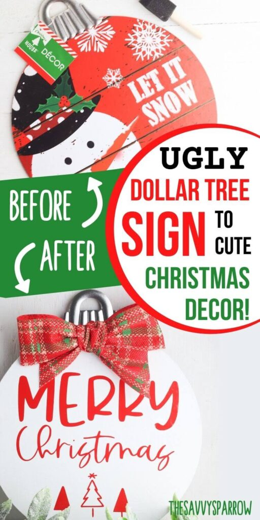 before and after of the DIY Christmas sign