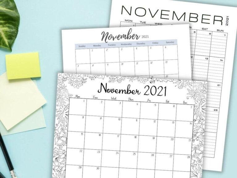 Free Printable November Calendar – 8 Cute 2021 Designs!